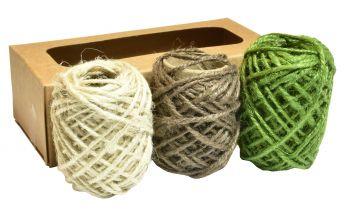 3 krāsas džuta virvītes