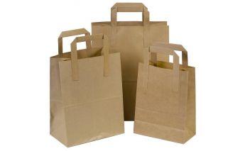 Flat maisiņi no brūna kraft papīra ar plakaniem rokturiem