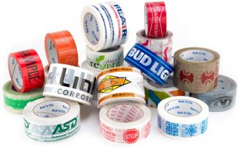 Plastic or paper adhesive tape with individual print, logo