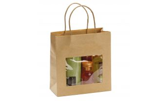 Brown Kraft paper Twist type gift bags with a window