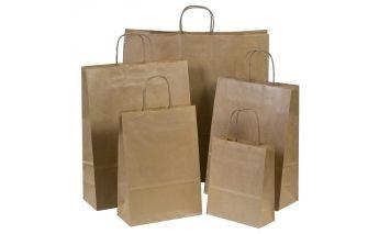 Brūni Twist tipa maisiņi ražoti no KRAFT papīra ar aukliņu rokturiem