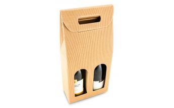 Dāvanu kastīte ar lodzinu divu pudeļu iepakošanai, no kartona
