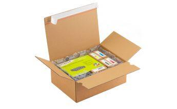 Transportēšanas kastes ar pašlīmējošu līniju no kartona