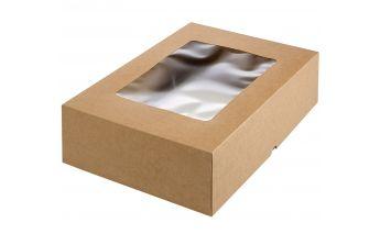 Divdaļīga kastīte ar lodziņu izgatavota no kartona