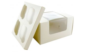 Paper cupcakes box with insert and PVC window