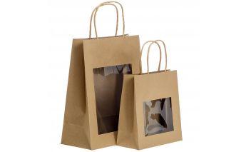 Brūni Twist tipa maisiņi ar lodziņu no Kraft papīra