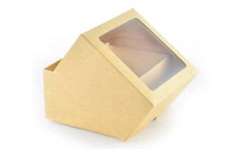 Two part cardboard gift box with window