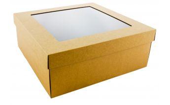 Divdaļīga kastīte izgatavota no mikrogofra ar lodziņu