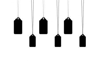 Popierinės kortelės su virvele, juodos