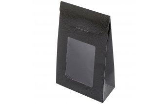 Vertikāla kastīte ar caurspīdīgu lodziņu izgatavota no izturīga papīra